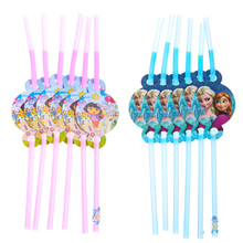 12pcs plastic drinking straw with cute Dora ice Princess decor for wedding child kids girls boys birthday party decor suppliers