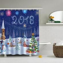 Christmas Snowman Shower Curtain Custom Made Unique Bath Waterproof Bathroom Products Curtains Decoration #45