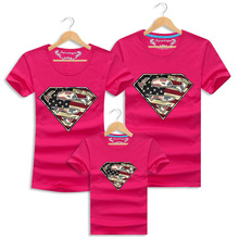 New Design Superman Family Look Short Sleeve Father And Son Clothes 2017 Mother Daughter Clothes Cotton Matching Family Shirts(China)