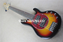 Musical instruments tobacco sunburst  20 frets 4 strings music man electric bass guitar with red pearl pickguard,can be changed