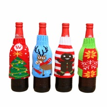 Hot Slae Christmas Knit Wine Bottle Cover Dust Covers 15 * 9cm Cookies X-mas Christmas Tree Snowflakes Elk Pattern Decoration(China)