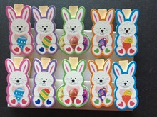10pieces Kids Bunny Easter Wooden Clips Pegs Wood Pegs Kids Crafts Party Gift,Wood photo/picture holder Clips for Easter Favor