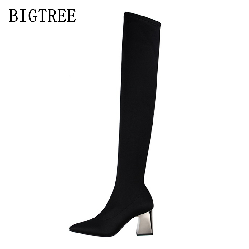 bigtree shoes woman over the knee boots women shoes botines mujer black high heel boots over knee boots womens fetish high heels<br>