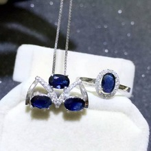 Fashion genuine sapphire necklace pendant sapphire ring jewelry set sterling silver jewelry set buy directly from sapphire mine