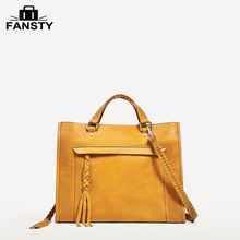 2017 New Split Cow Leather Bag Yellow Tassel Women Tote Bag Zipper Ladies Handbag Elegant Large Capacity Top Handle Bag(China)
