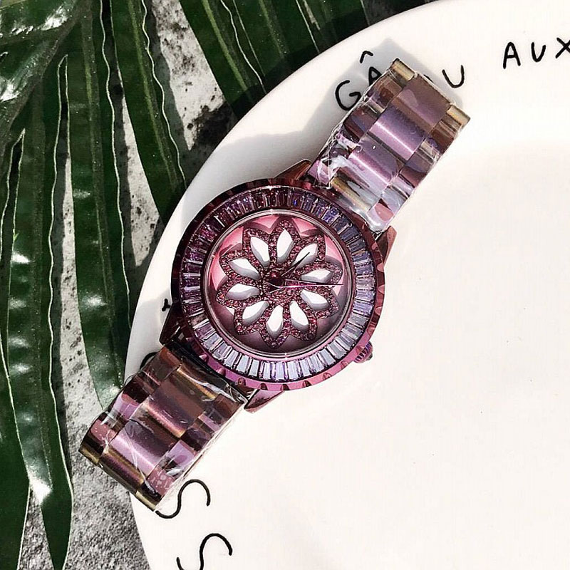 New Women Watch Stainless Steel Watches Lady Shining Rotation Dress Watch Big Diamond Purple Wristwatches Lady Clocks hours<br>