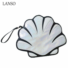 Fashion Brand Personality Design Laser Bling Shell Shape Clutch Handbag With Short Handle Funny Small Creative Flaps New Look(China)