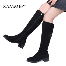 XAMMEP Women's Winter Shoes Knee High Boots Plus Big Size High Quality Faux Suede Brand Women Shoes Wool Women Winter Boots(China)