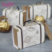 50pcs/lots Stamp Design Handbag Wedding Box Party  Favors Crafts Paper Candy Box Gift Box For Wedding And Party Supplies