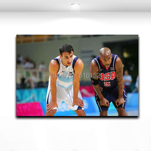 Ginobili and Marbury Oil Canvas Painting Printed on Canvas Basketball Star Picture for Boy's Room Wall Decoration