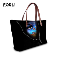 FORUDESIGNS Fahion Black Tote Female Characters Print Shopping Bags Large Capacity Women Handbag Casual Tote Feminina sac a main