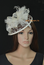 2017 NEW Cream brown leopard print Feather sinamay fascinator hat for Wedding,Ascot Races,Party,Kentucky Derby,Melbourne Cup.