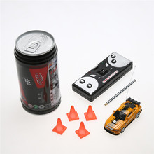 7 Colors Coke Can Mini Speed RC Radio Remote Control Micro Racing Car Toy with 4pcs Road Blocks RC Toys Kid's Toys Gifts
