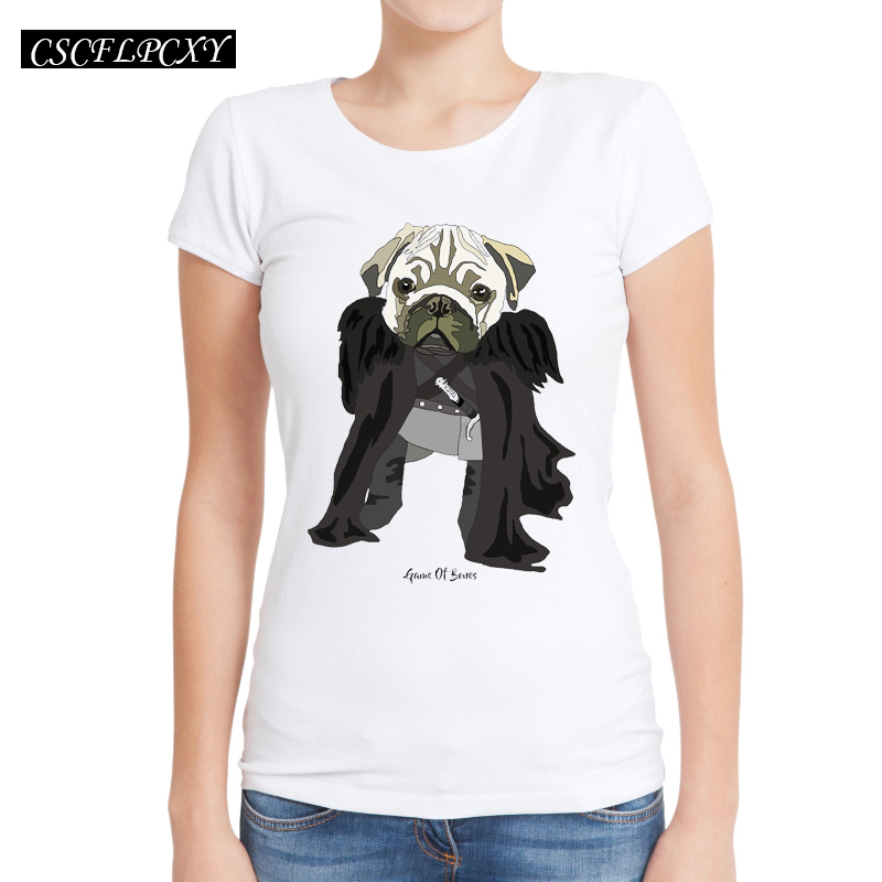 2017-New-Pug-of-Thrones-Women-T-Shirts-Short-Sleeve-Slim-Lady-T-Shirt-Game-of