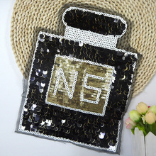 BT233 5 Pcs/Lot New Arrival Wholesale French High Quality Black Shinning N5 Perfume Patch Sew or Iron on Cloth Free Shipping