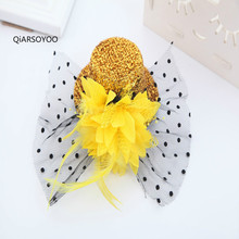 Wholesale 12pcs 13cm Sequined Glittering Mini Top Hat With Hairpin Girls Kids Latin Dance Feather Headwear(China)