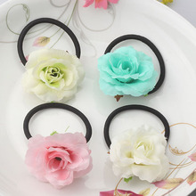 Hot Sale Summer Style Fabric Wraped Ponytail Holder Flower Children Hair Accessories Beauty Scrunchy Baby Elastic Hair Bands(China)