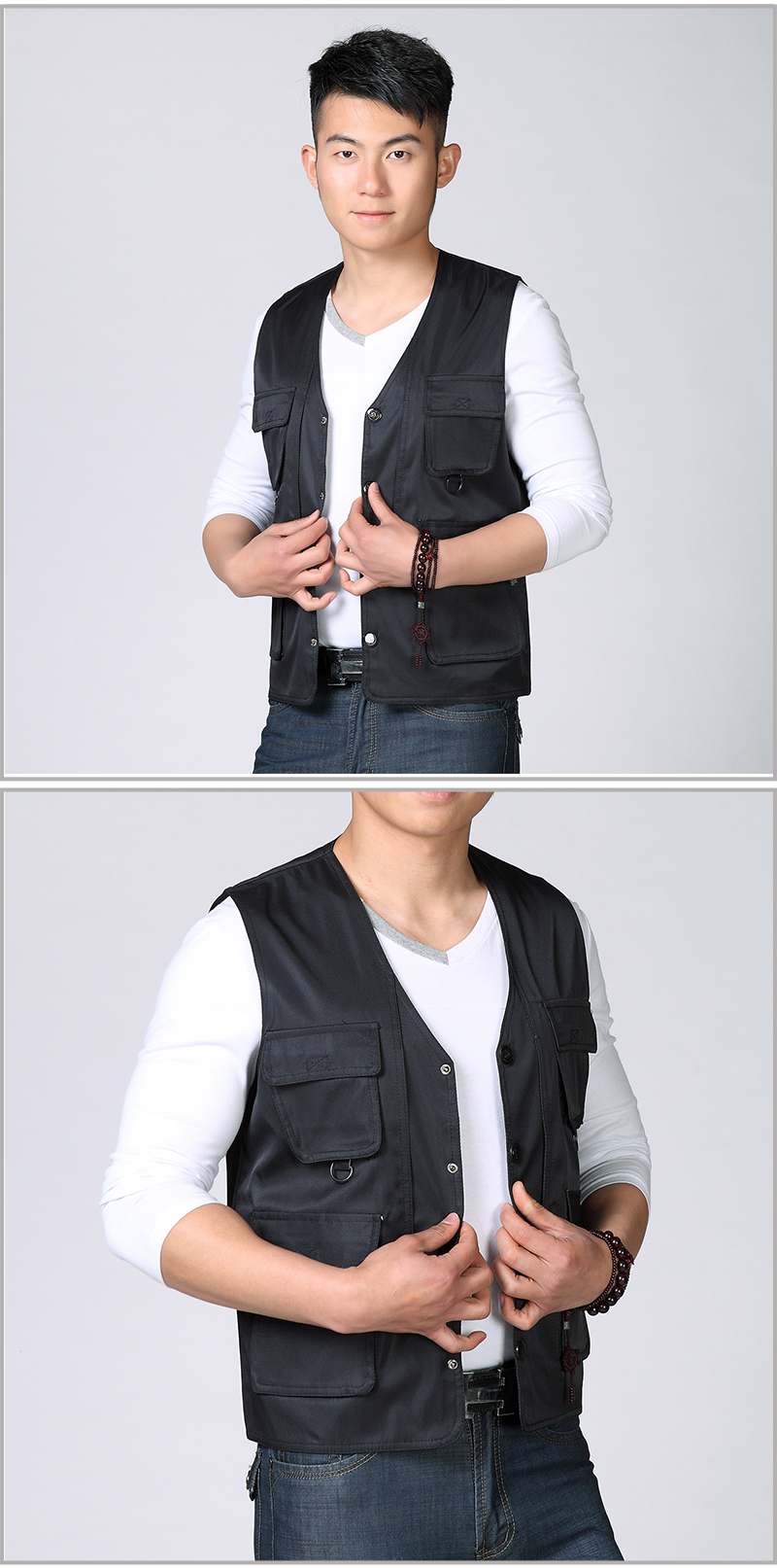Spring Autumn Man Casual Vest Army Green Black Waistcoat For Men Leisure Gilet Male Herringbone Vest Multi Pockets Waistcoat Mens Weskit (6)