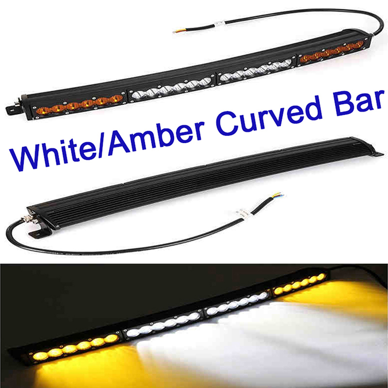1 120w 150w 180w 210w dual color curved led light bar work light single row with cree white amber yellow car offroad for jeep cherokee xj wj truck car atv suv auto driving work light bar combo beam