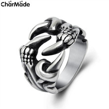 Antique Silver Tone 1Pcs Punk Biker Jewelry Titanium Stainless Steel Dragon Claw Ring Men Male Rings Retro Anel Masculine R583