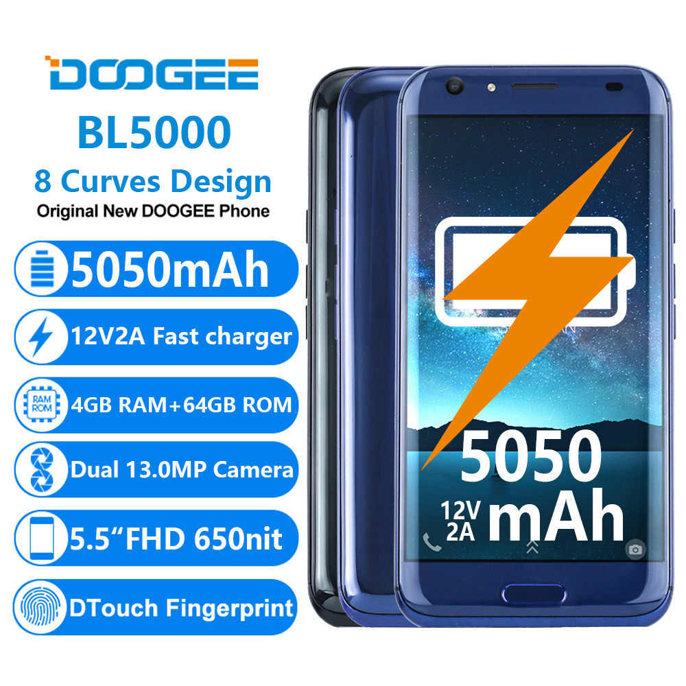 Doogee BL5000 смартфон MTK6750T Восьмиядерный 4 Гб + 64 ГБ Android 7,0 Touch ID 13MP две задние камеры 12V2A QuickCharge 4G Lte телефон