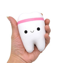 Kawaii Soft Squeeze Stretch Teeth Bread Squishy Fun Kids Toys Stress Reliever Decor Squishy Phone Charm Straps Gift P0.11