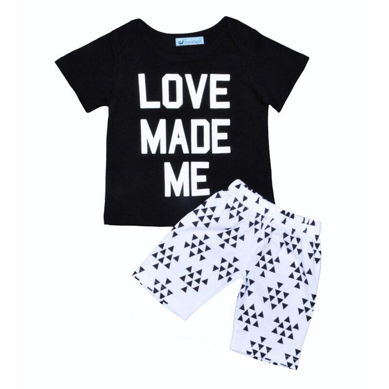 summer kids bou girl clothing set 2017 fashion Letter Printed T-shirt+triangle short pants boy kids set summer Leisure baby set<br><br>Aliexpress