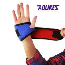 AOLIKES sports wristbands cheap fitness wrist band blue bracers palm procter climbing bandage wrists gym hands support 2018(China)