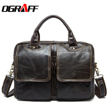 OGRAFF Men bags Handbag Genuine Leather Bags Men Briefcase Business Men Crossbody Messengershouder Bag Leather Laptop Bag Lawyer