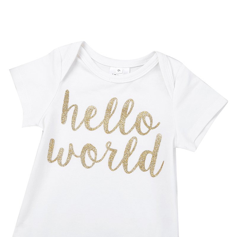 Bloomers Headband Newborn Baby Girls 1st Birthday Romper HELLO WORLD Outfit