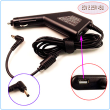 20V 2.25A Laptop Car DC Adapter Charger Power + USB For Lenovo IdeaPad 100 100-14 100-15 100-15IBY B50-10 45N0297 36200610