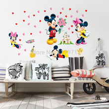 Mickey Mouse and Minnie Mouse Wall Sticker Home Decor Cartoon Wall Decal DIY for Kids Room Decal Baby Vinyl Mural Nursery XY8126(China)