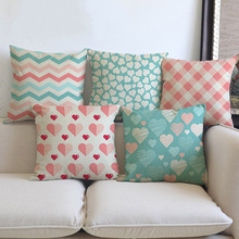 Pink Plaids Strips Heart Print Decorative Cushion Cover For Sofa  Princess Style Cotton Linen Square Throw Pillow Case 45x45cm