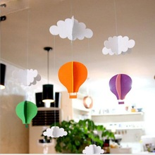 3D Clouds Hot Air Balloon Stereo DIY Felt Ornaments Children Room Nursery Decoration Birthday Party Garland ZA2956