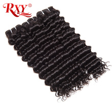 RXY Malaysian Deep Wave Human Hair Bundles Nature Color 10-28inch Remy Hair Extension 1pc Double Weft Hair Weave Free Shipping