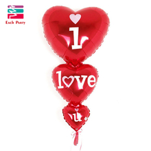 Wedding decoration Romantic heart balloons siamesed I Love You foil balloons mariage helium inflatable air balls party supplies(China)