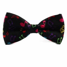 SYB 2016 NEW Stylish Black Bottom with Colorful Musical Note Design Bow Tie For Men(China)
