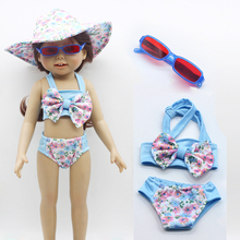 "1Set Doll Swimming Bikini Suit +Pink Sunglasses + Hat for 1/3 18"" American Girl Doll clothes set Cap(China)"