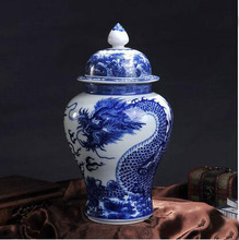 HAND PAINT Dragon Blue And White Porcelain Ceramic Temple Jars(China)