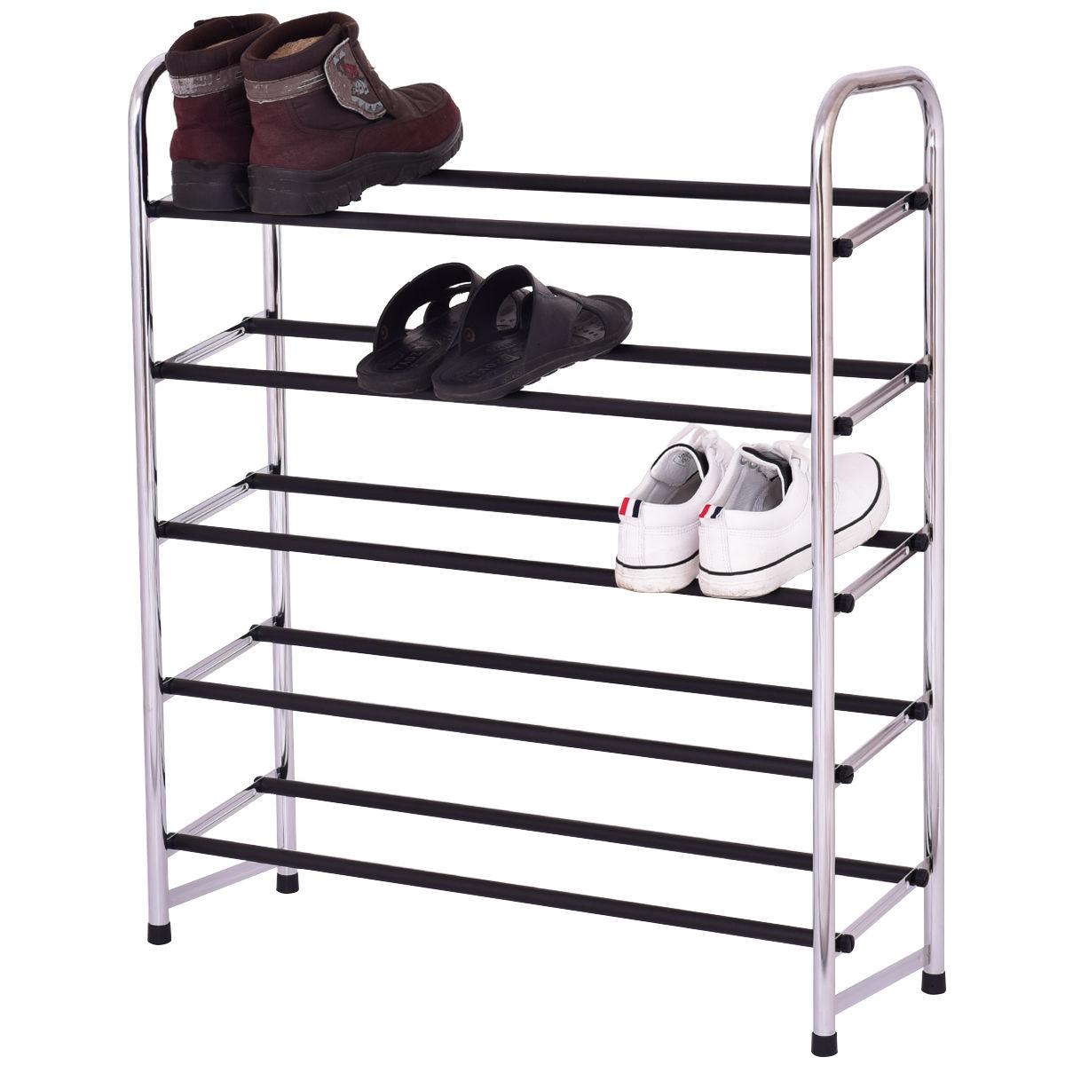 Giantex 5-Tier Mobile Shoe Rack Tower Living Room Storage Shelf Shoes Holder Organizer Modern Home Furniture HW55252<br>