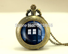 new antique dr Doctor Who tardis Pocket Watch quartz Necklace 12pcs/lot Police Box 2017 dw Time And Relative Dimensions In Space(China)