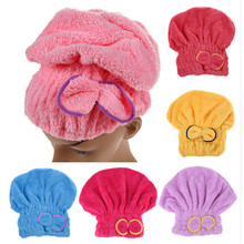 Newly Textile Useful Dry Microfiber Turban Quick Hair Hats Towels Bathing(China)