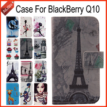 AiLiShi In Stock Case For BlackBerry Q10 Book Flip Fashion PU Leather Case Exclusive 100% Special Phone Cover Skin+Tracking Hot