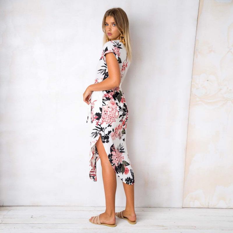 2018 Summer Dress Women Print V Neck Short Sleeve Robe Female Dresses Casual Sashes Midi Dress Ladies Elegant Vestidos Dropship 14