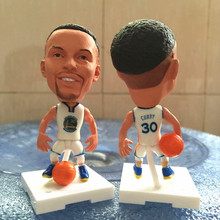 Soccerwe 2016 Movable Series 6.5 cm Height Square Base Resin Basketball Star 30 Curry Doll White Golden State Base Color Random(China)