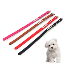 Dogs Collars Puppy Collar Buckle Candy Color Leather Dog Leash Cat Studded Neck Strap Dogs Collar 4 Colors