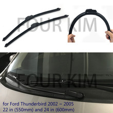 for Ford Thunderbird 2002 ~ 2005 Car Windscreen Wiper Frameless U J Hook Soft Rubber All Weather Suitable Windshield Bracketless