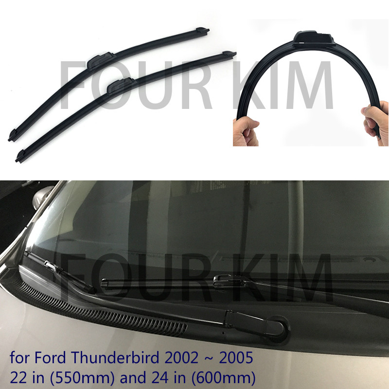 for Ford Thunderbird 2002 ~ 2005 Car Windscreen Wiper Frameless U J Hook Soft Rubber All Weather Suitable Windshield Bracketless(China (Mainland))