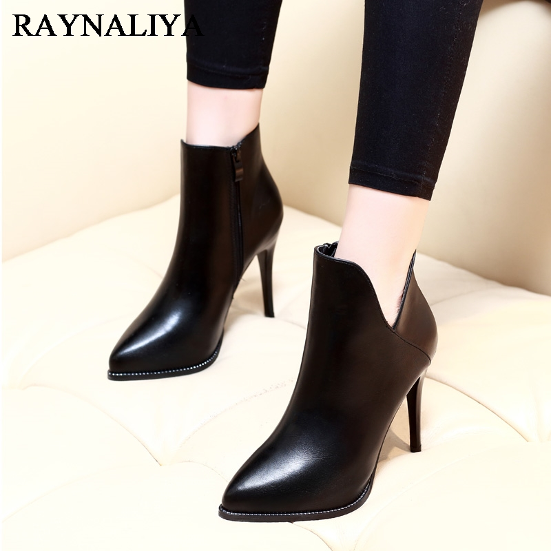 Thin High Heels Ankle Boots Winter Autumn Boots Handmade Genuien Leather Shoes 9cm Heel Luxury Shoes 2018 New CH-A0050<br>