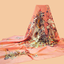 "Da Hua  High-end brand scarves ""Skull and Flowers"" 140 oversized silk scarf 100% silk chiffon scarves printed beach towel"